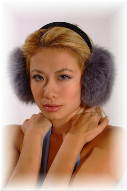 Gray Fox Fur Earmuffs