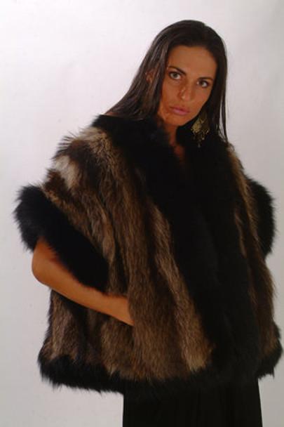 Black Raccoon Fox Fur Vest Design