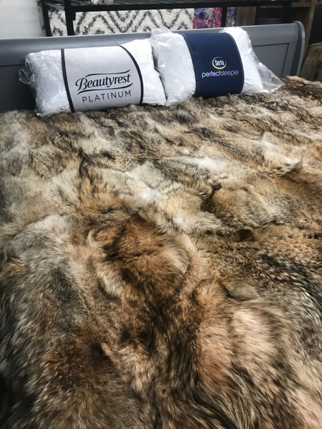 Coyotte fur blanket twin size from Fur Outlet