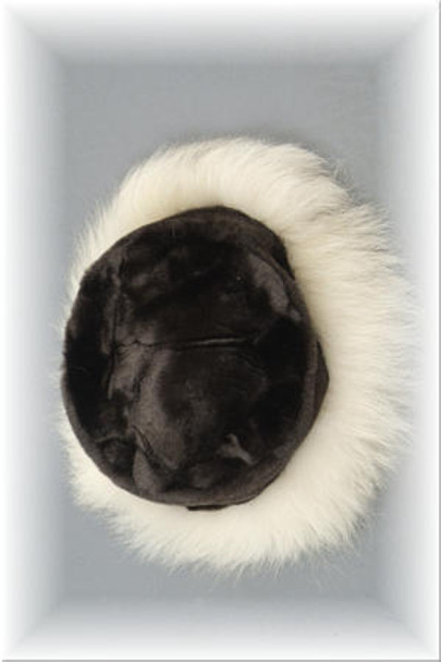 Faux Fur Hat with Blue Fox Trim