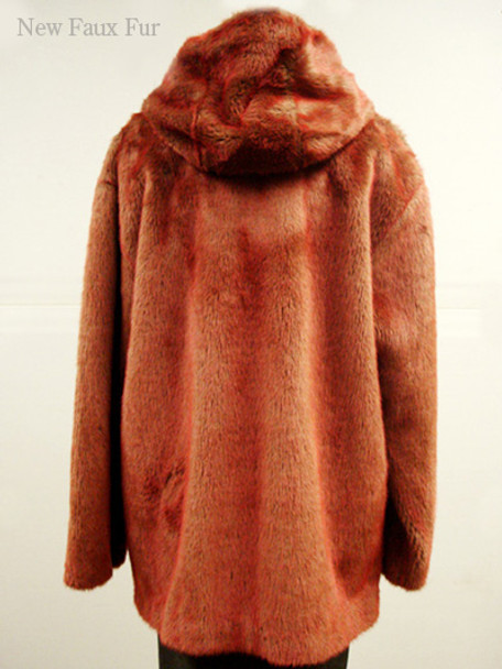 Faux Fur Red Mink Jacket With Hood