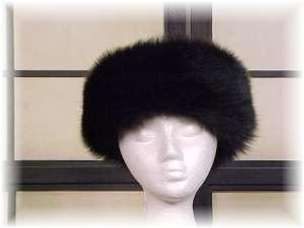 Full Skin Black Fox Fur Headwear