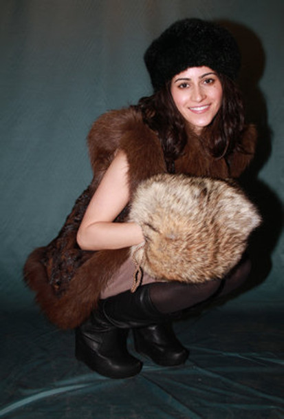 Buy Two-In-One Full Skin Fox Fur Barrel Muff & Carry Bag