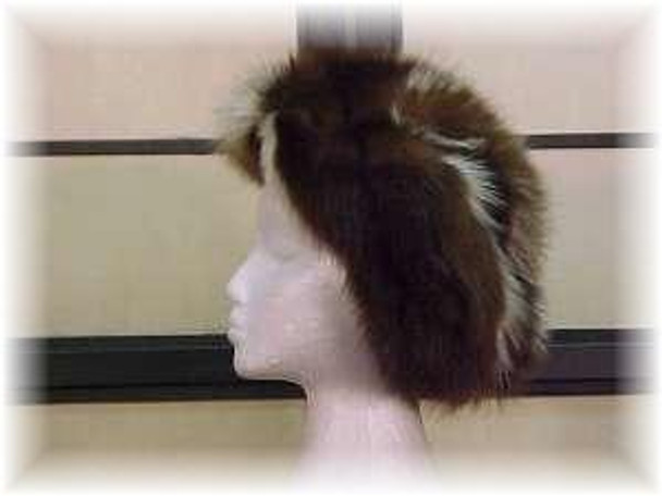 "Dyed Brown & White Fox  ""Two - Tone"" Design Fur Hat"