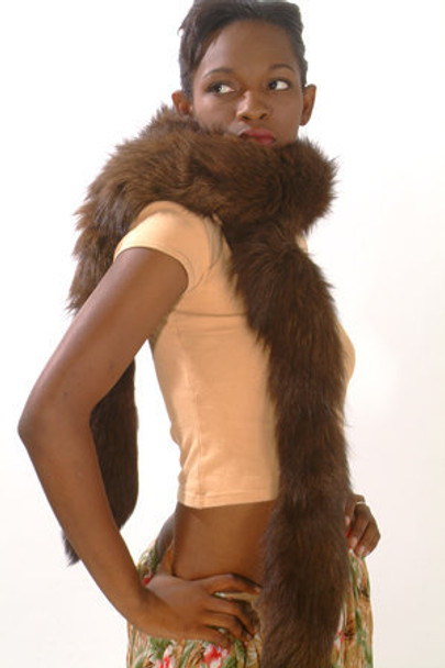Brown Fox Fur Tails Design Sectional Scarf