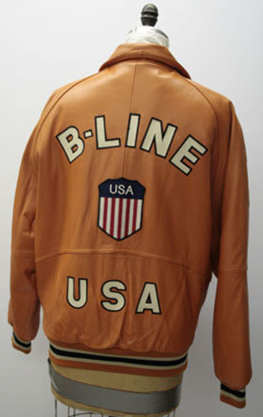 Leather Mens Orange B-Line Jacket