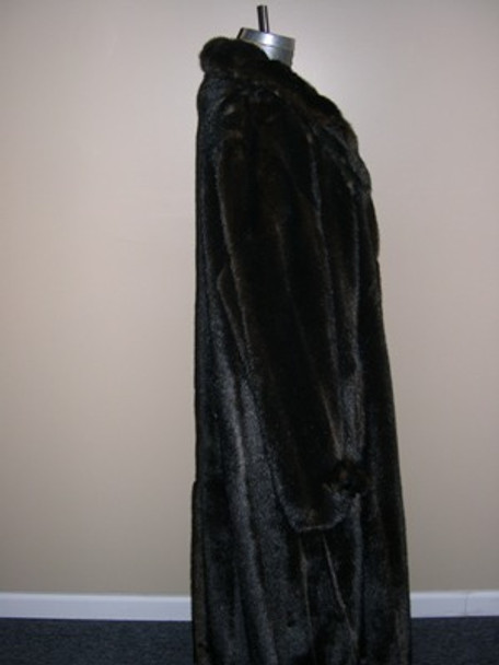 Mahogany Faux Mink Long Coat