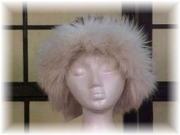 Gray Faux Fur Hat with White Fox Fur Trim