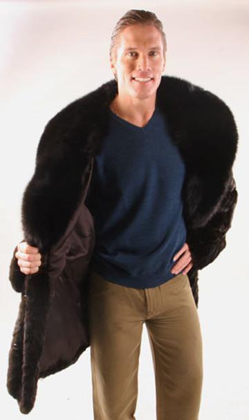 Mink Coat with Fox Large Collar Shawl