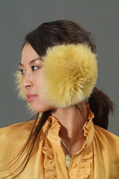 Yellow Fox Fur Earmuffs 1