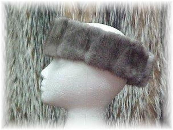 Full Skin Gray Mink Design Fur Headwrap