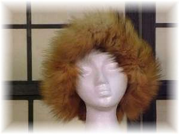 Brown Faux Fur Hat with Red Fox Trim