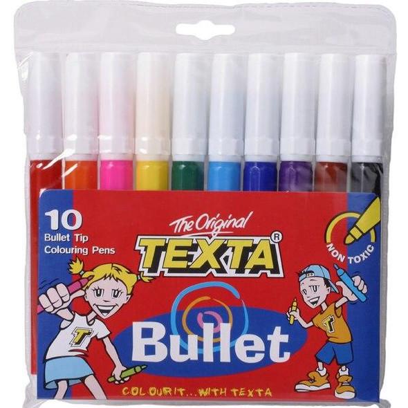 TEXTA Bullet Tip Colouring Marker Wallet10 X CARTON of 12 0180130