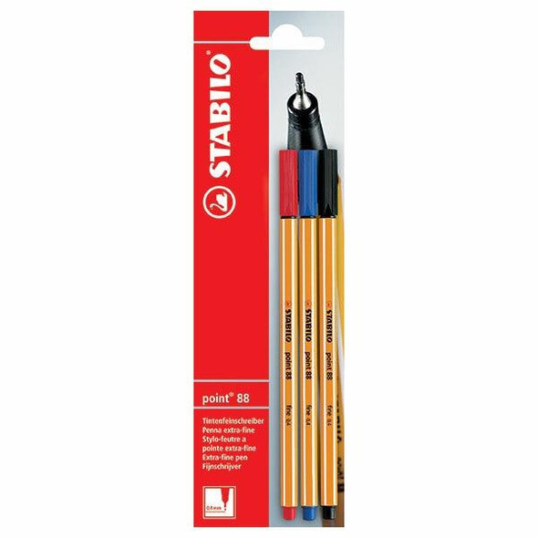 STABILO Point 88 Fineliner Assorted Card 3 Order 0213700