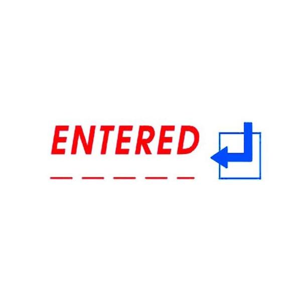 Deskmate Pre-Inked Office Stamp Entered Date Blue/Red 0273670