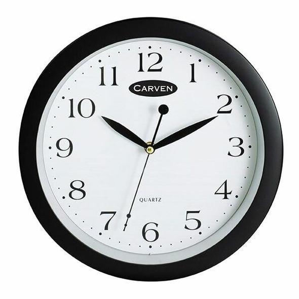 Carven Clock 250mm Black Frame 0283320