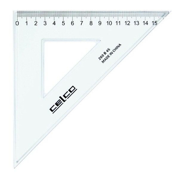 Celco 45 Degree Set Squares 26cm Clear 0307500