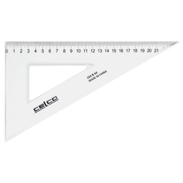 Celco 60 Degree Set Squares 26cm Clear 0307510
