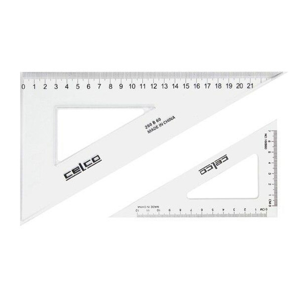 Celco 60 Degree Set Squares 32cm Clear 0307530