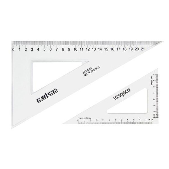 Celco 60 Degree Set Squares 14cm Clear 0307550