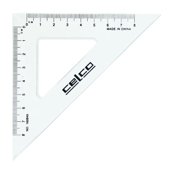 Celco 45 Degree Set Squares 16cm Clear X CARTON of 12 0307560