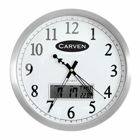 Carven Clock 350mm Aluminium Frame With Lcd Date 0347590