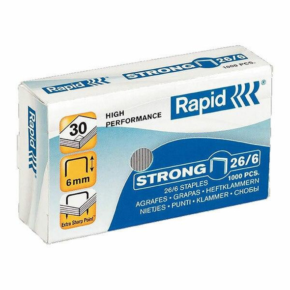 Rapid Staples 26/6mm Box1000 Strong 0406822