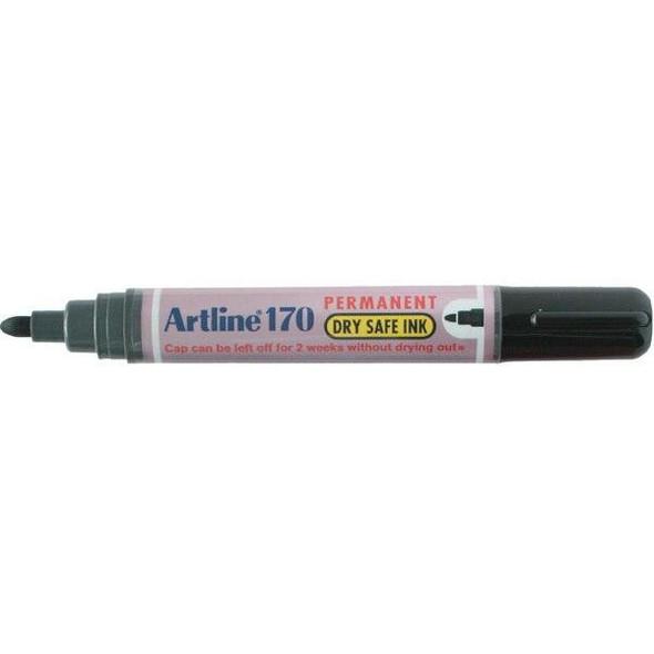 Artline 170 Permanent Marker 2mm Bullet Nib Black BOX12 101701