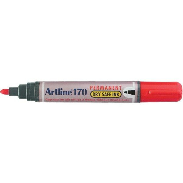 Artline 170 Permanent Marker 2mm Bullet Nib Red BOX12 101702