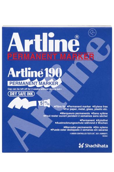 Artline 190 Permanent Marker 5mm Chisel Nib Black BOX12 101901