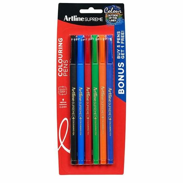 Artline Supreme Fineliner Pen 0.6mm Assorted 6Pack 102235