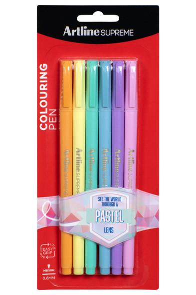 Artline Supreme Fineliner 0.6mm Pastel 6Pack X CARTON of 12 102235P