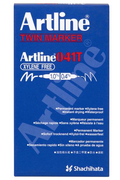 Artline 041t Permanent Dual Nib Marker Black BOX12 104101