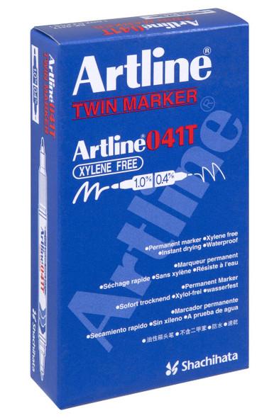 Artline 041t Permanent Dual Nib Marker Blue BOX12 104103
