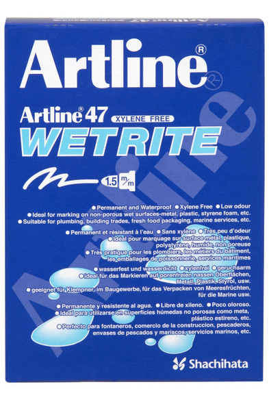 Artline 47 Wetrite Permanent Marker 1.5mm Bullet Nib Black BOX12 104701