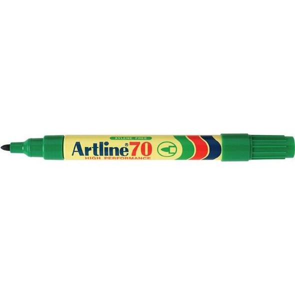 Artline 70 Permanent Marker 1.5mm Bullet Nib Green BOX12 107004