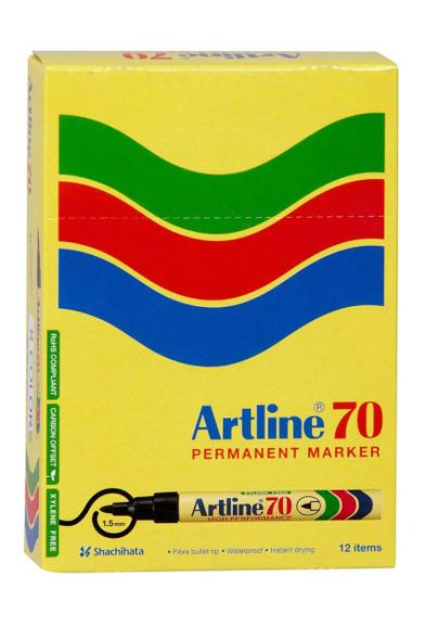 Artline 70 Permanent Marker 1.5mm Bullet Nib Yellow BOX12 107007