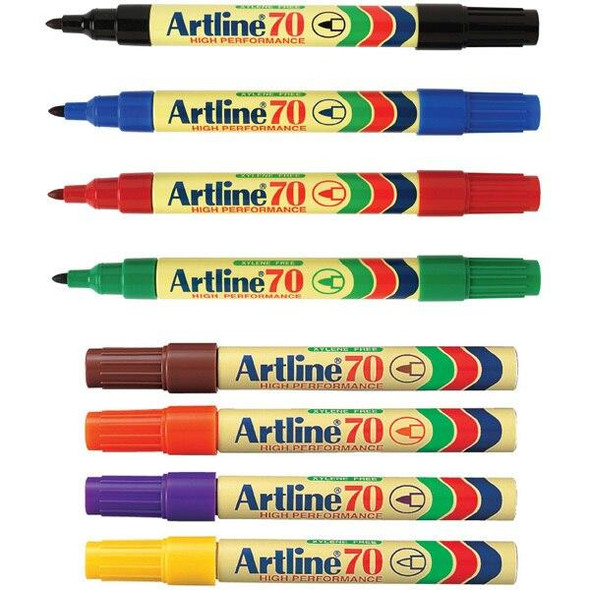Artline 70 Permanent Marker 1.5mm Bullet Nib Assorted BOX12 107041