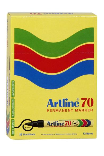 Artline 70 Permanent Marker 1.5mm Bullet Nib Brights Assorted BOX12 107044