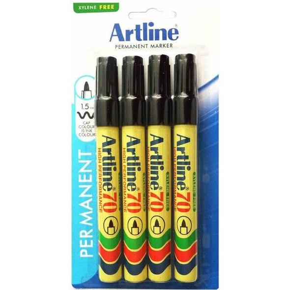 Artline 70 Permanent Marker 1.5mm Bullet Nib Black 4Pack X CARTON of 12 107075