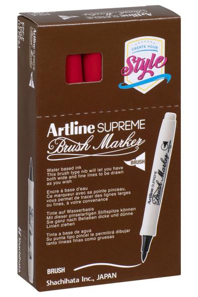Artline Supreme Brush Marker Red BOX12 108102
