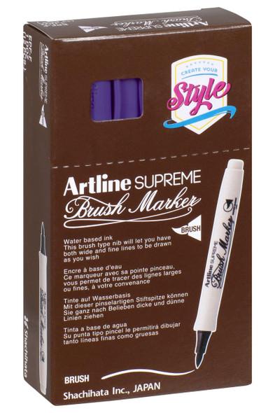 Artline Supreme Brush Marker Purple BOX12 108106