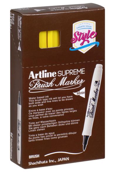 Artline Supreme Brush Marker Yellow BOX12 108107