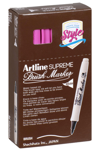 Artline Supreme Brush Marker Pink BOX12 108109