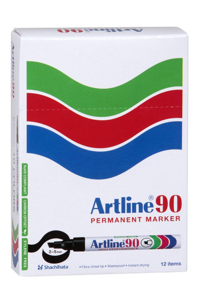 Artline 90 Permanent Marker 5mm Chisel Nib Black BOX12 109001