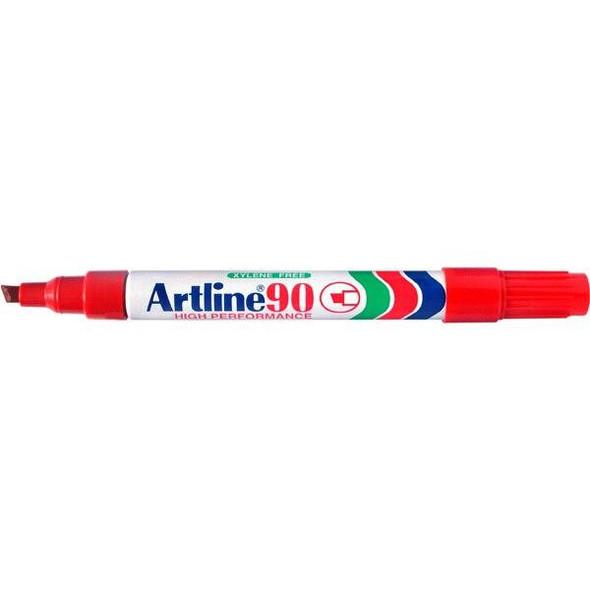 Artline 90 Permanent Marker 5mm Chisel Nib Red BOX12 109002
