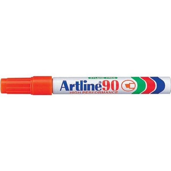 Artline 90 Permanent Marker 5mm Chisel Nib Orange BOX12 109005