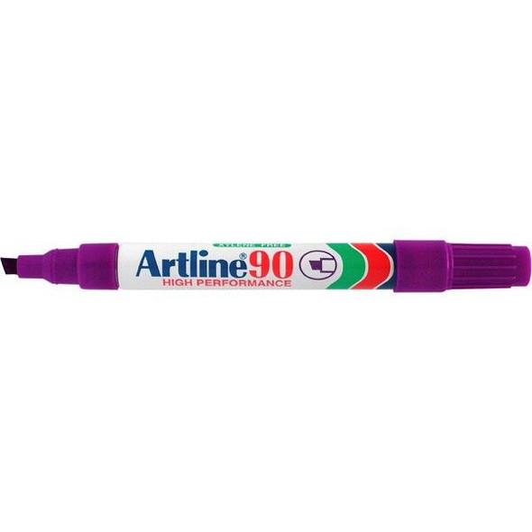 Artline 90 Permanent Marker 5mm Chisel Nib Purple BOX12 109006