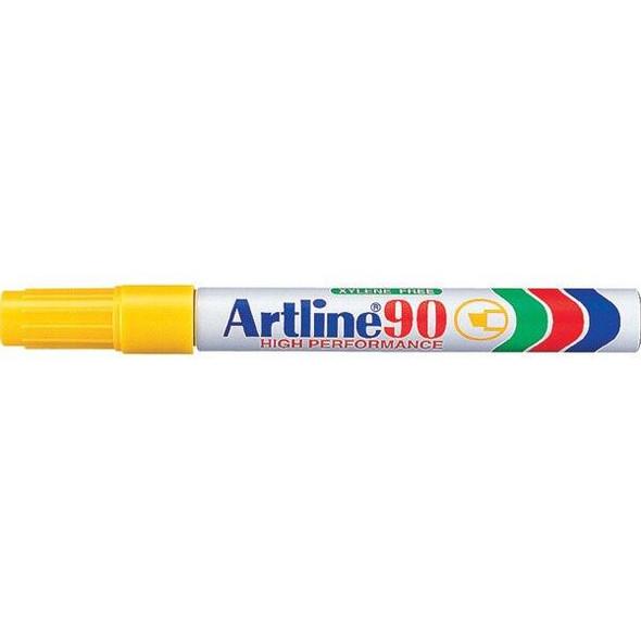 Artline 90 Permanent Marker 5mm Chisel Nib Yellow BOX12 109007