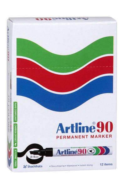 Artline 90 Permanent Marker 5mm Chisel Nib Pink BOX12 109009